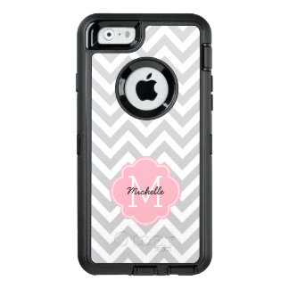 Pink Monogrammed Chevrons Pattern OtterBox Defender iPhone Case