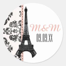 Pink Monogrammed Damask Eiffel Tower Wedding Classic Round Sticker