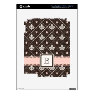 Pink Monogrammed Fleur de Lis iPad 3 Skin