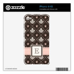 Pink Monogrammed Fleur de Lis iPhone 4 / 4s Skin Decals For The iPhone 4