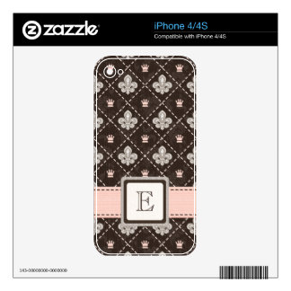Pink Monogrammed Fleur de Lis iPhone 4 / 4s Skin Decals For iPhone 4