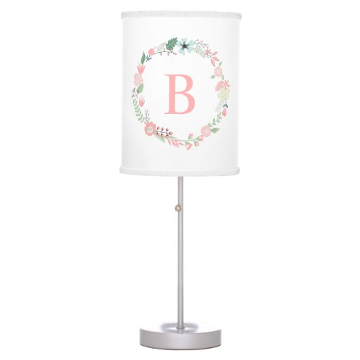Pink Monogrammed Floral Wreath Table Lamp