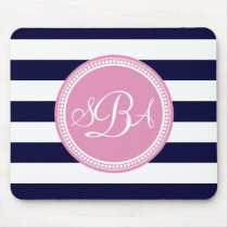 Pink Monogrammed Navy Blue Stripe Personalized Mouse Pad