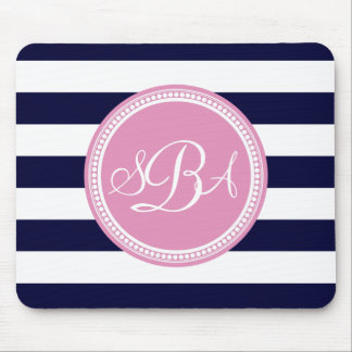 Pink Monogrammed Navy Blue Stripe Personalized Mousepads