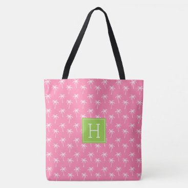 Beach Themed Pink Monogrammed Palm Trees Pattern Tote Bag