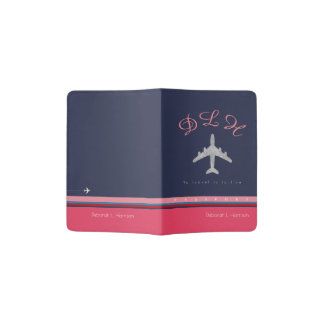 pink monogrammed travel passport cover for her