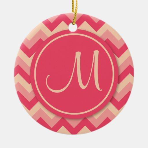 Pink Monogrammed ZigZag Pattern Ceramic Ornament