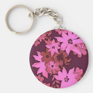 Pink monotone floral arrangement keychain