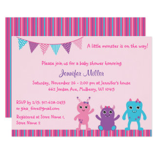 Pink Monster Baby Shower Card