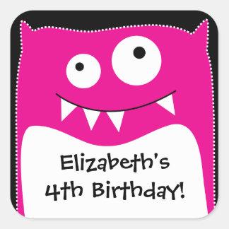 Pink Monster Bash Birthday Square Sticker