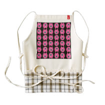 Pink monster cartoon pattern zazzle HEART apron