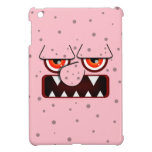 Pink Monster Face, Big Nose Sharp Fangs iPad Mini Covers