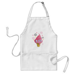 Pink Monster Ice Cream Cone Adult Apron