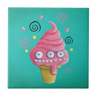Pink Monster Ice Cream Cone Ceramic Tiles