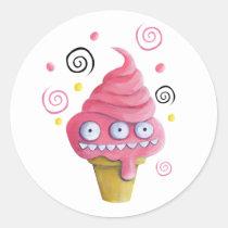 monster, summer, pink, ice cream, pink monster, ice cream cone, monster ice cream, artsprojekt, dessert, sweet, pink ice cream, ice cream gift, ice cream present, children gift, children present, children, kid, kids, nusery, illustration, children illustration, Sticker with custom graphic design
