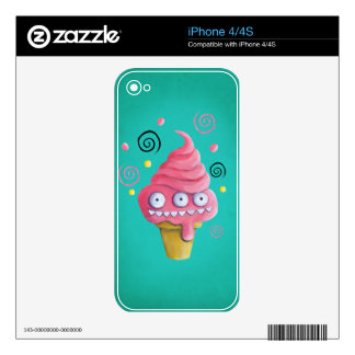 Pink Monster Ice Cream Cone Decal For The iPhone 4S