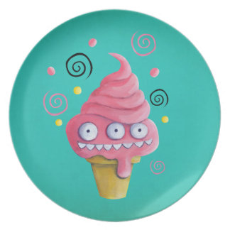 Pink Monster Ice Cream Cone Dinner Plate