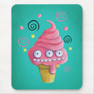 Pink Monster Ice Cream Cone Mouse Pad