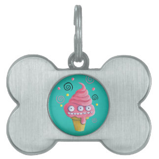 Pink Monster Ice Cream Cone Pet Tag