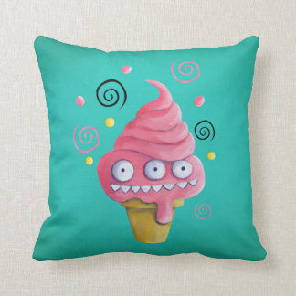 Pink Monster Ice Cream Cone Pillow