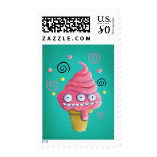 Pink Monster Ice Cream Cone Postage