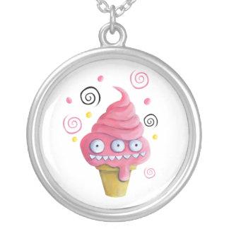 Pink Monster Ice Cream Cone Round Pendant Necklace