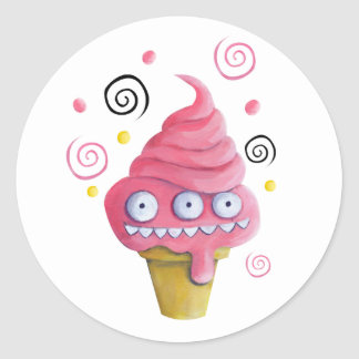 Pink Monster Ice Cream Cone Classic Round Sticker