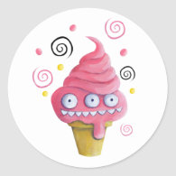 Pink Monster Ice Cream Cone Stickers