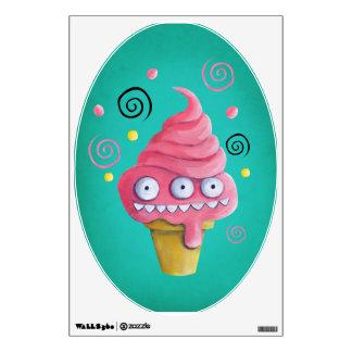 Pink Monster Ice Cream Cone Wall Sticker