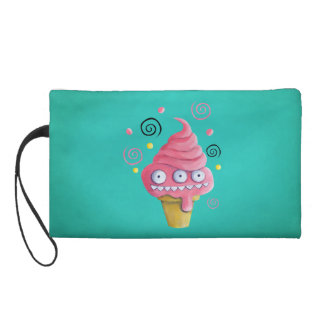 Pink Monster Ice Cream Cone Wristlet Clutch