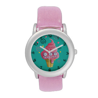 Pink Monster Ice Cream Cone Wristwatches