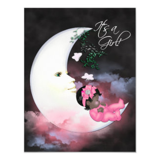 Pink Moon African American Baby Girl Shower Card