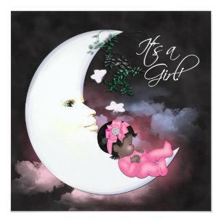 Pink Moon African American Baby Girl Shower Custom Invite