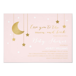 Pink Moon and Back Baby Shower Invitation