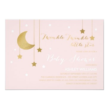 Whimzy_Designs Pink Moon and Stars Baby Shower Invitation
