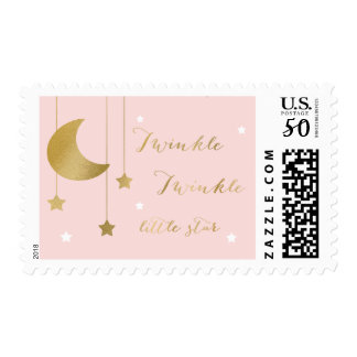 Pink Moon and Stars Baby Shower Stamp