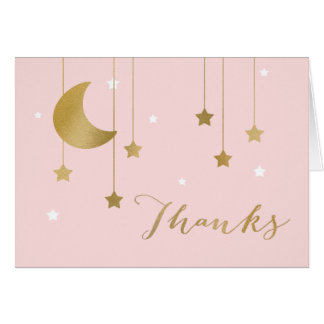 Pink Moon and Stars Thank You Note Card