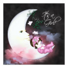 Pink Moon Baby Girl Shower Invitaions Card