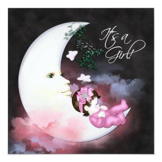 Pink Moon Baby Girl Shower Invitaions Custom Invite