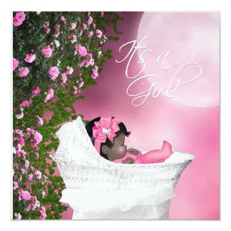 Pink Moon Baby Girl Shower Invites