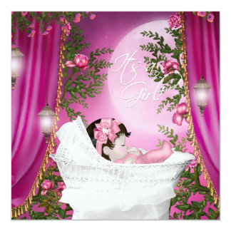 Pink Moon Baby Girl Shower Personalized Invites