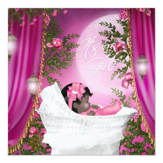 Pink Moon Baby Girl Shower Invitations