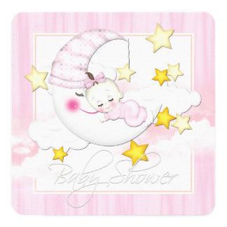 Pink Moon Baby Shower Custom Invitation Cards