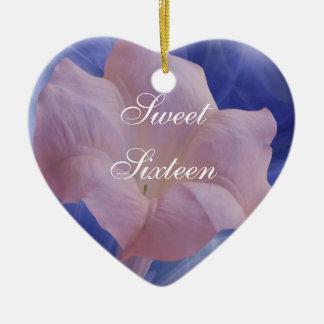 Pink Moon Flower Ceramic Ornament