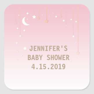 Pink Moon Stars Baby Girl Baby Shower Stickers