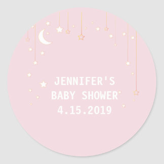 Pink Moon Stars Baby Shower Stickers