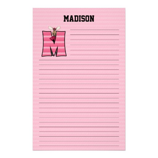 "Pink Moose Mongram ""M"" Lined Stationery"