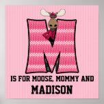 "Pink Moose Monogram ""M"" Baby Room Poster"