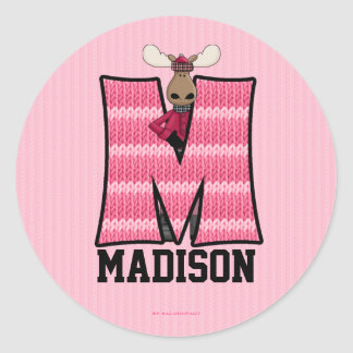 "Pink Moose Monogram ""M"" Personalized Stickers"