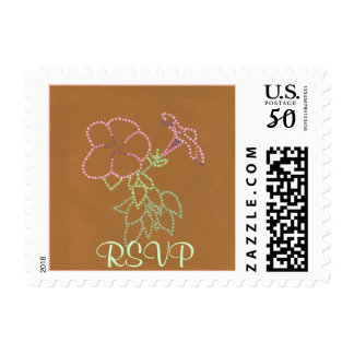 Pink Morning Glories, Brown RSVP postage stamps